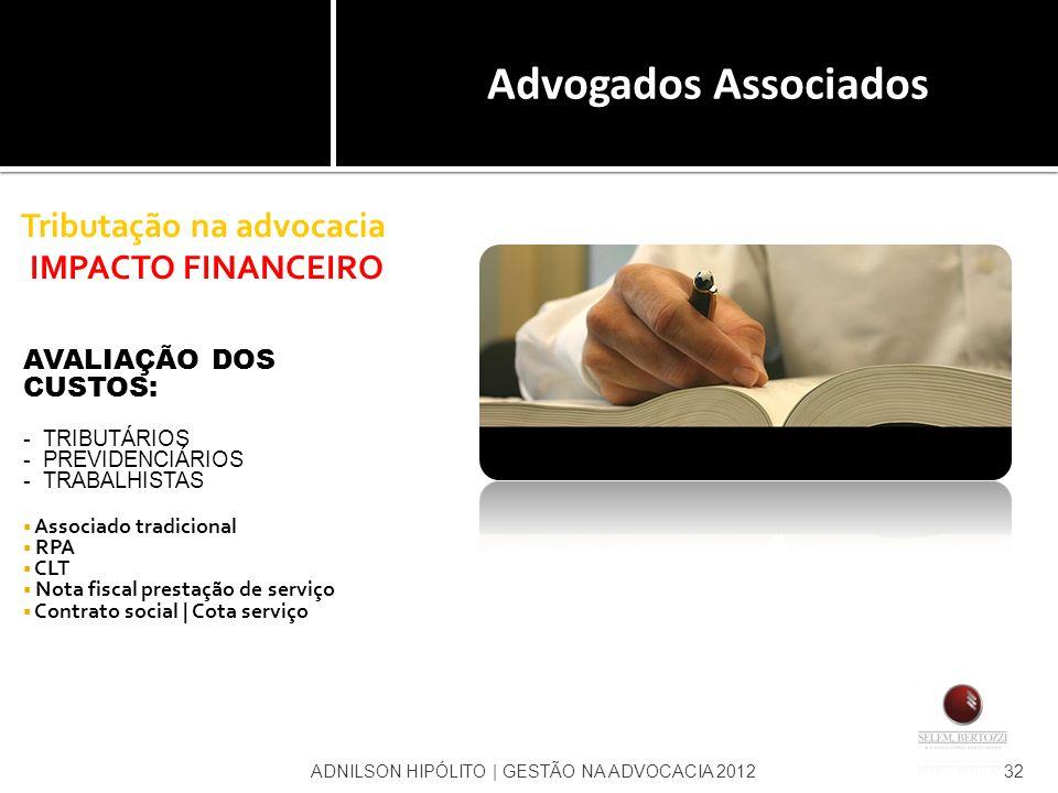 Tributação na advocacia IMPACTO FINANCEIRO