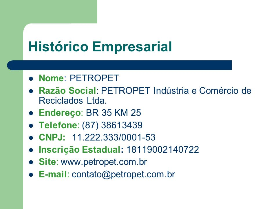 Histórico Empresarial