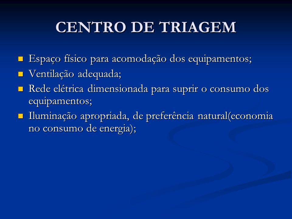 CENTRO DE TRIAGEM Espaço físico para acomodação dos equipamentos;