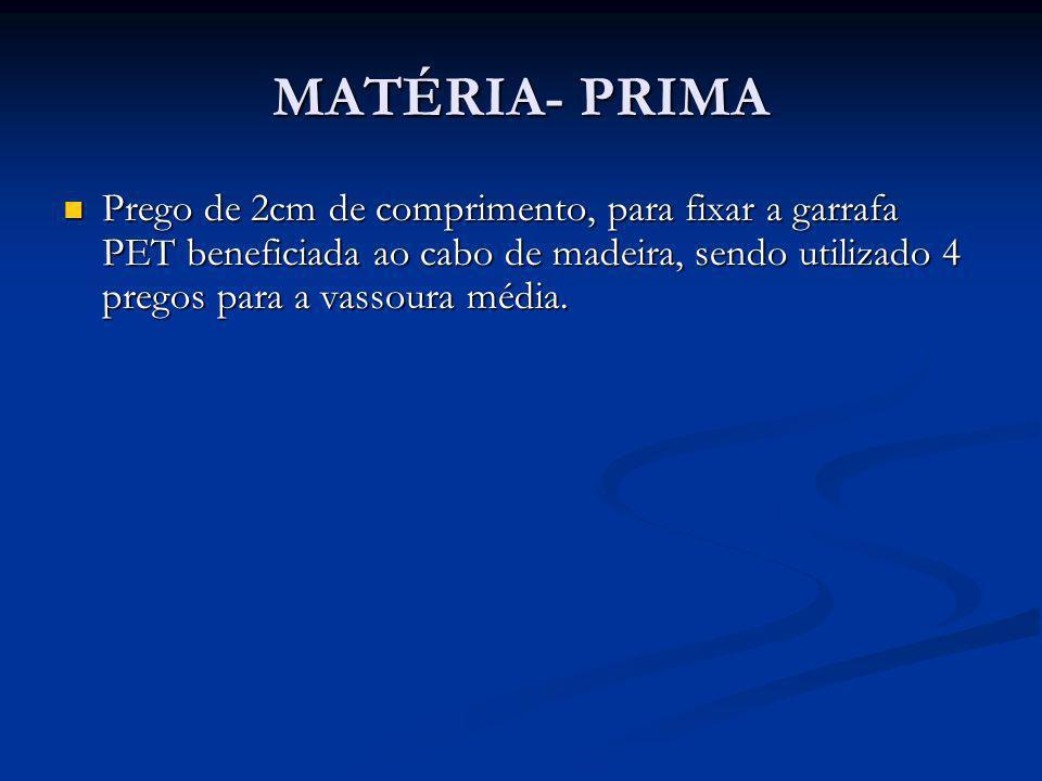 MATÉRIA- PRIMA Prego de 2cm de comprimento, para fixar a garrafa PET beneficiada ao cabo de madeira, sendo utilizado 4 pregos para a vassoura média.