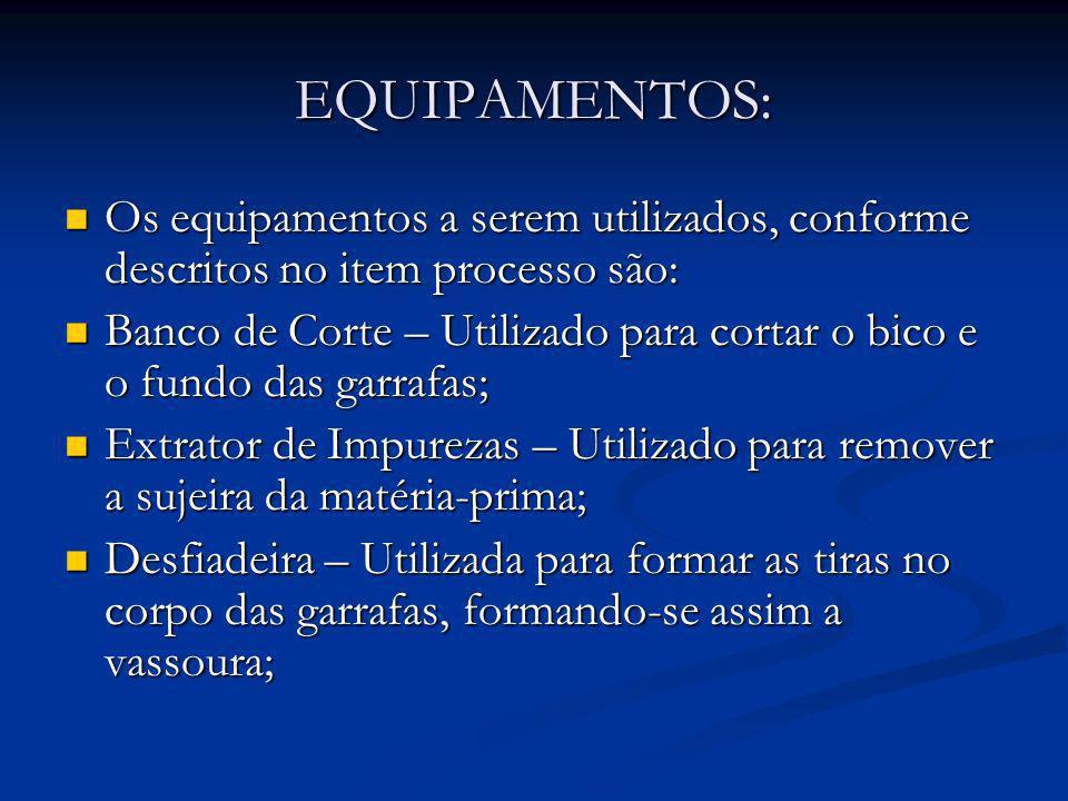 EQUIPAMENTOS: Os equipamentos a serem utilizados, conforme descritos no item processo são: