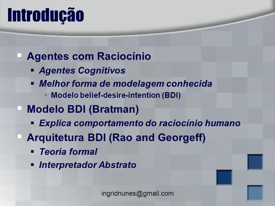 Introdução Agentes com Raciocínio Modelo BDI (Bratman)