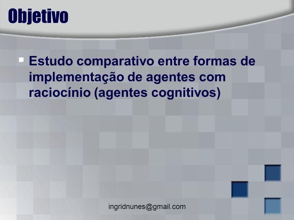 Objetivo Estudo comparativo entre formas de implementação de agentes com raciocínio (agentes cognitivos)