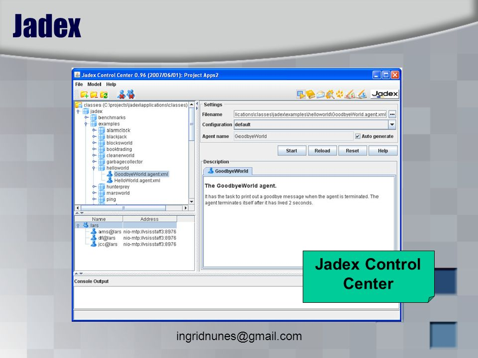 Jadex Jadex Control Center ingridnunes@gmail.com