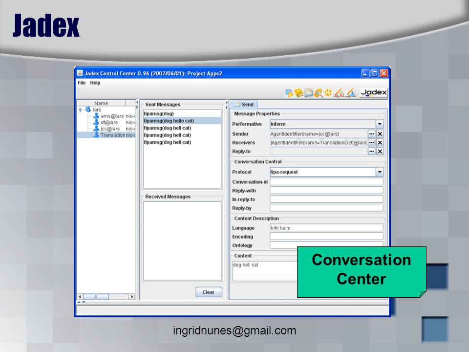 Jadex Conversation Center ingridnunes@gmail.com