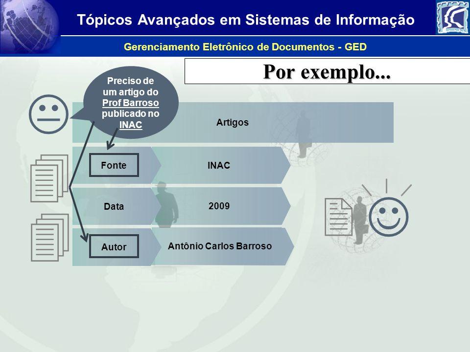 Por exemplo... Preciso de um artigo do Prof Barroso publicado no INAC.  Artigos. 4. Fonte. INAC.