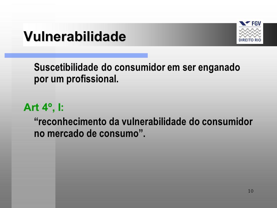 Vulnerabilidade Suscetibilidade do consumidor em ser enganado por um profissional. Art 4º, I: