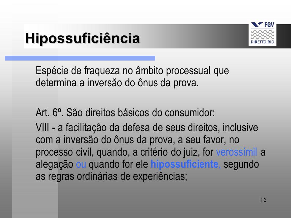 Hipossuficiência Espécie de fraqueza no âmbito processual que determina a inversão do ônus da prova.