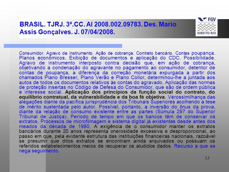 BRASIL. TJRJ. 3ª. CC. AI 2008. 002. 09783. Des. Mario Assis Gonçalves