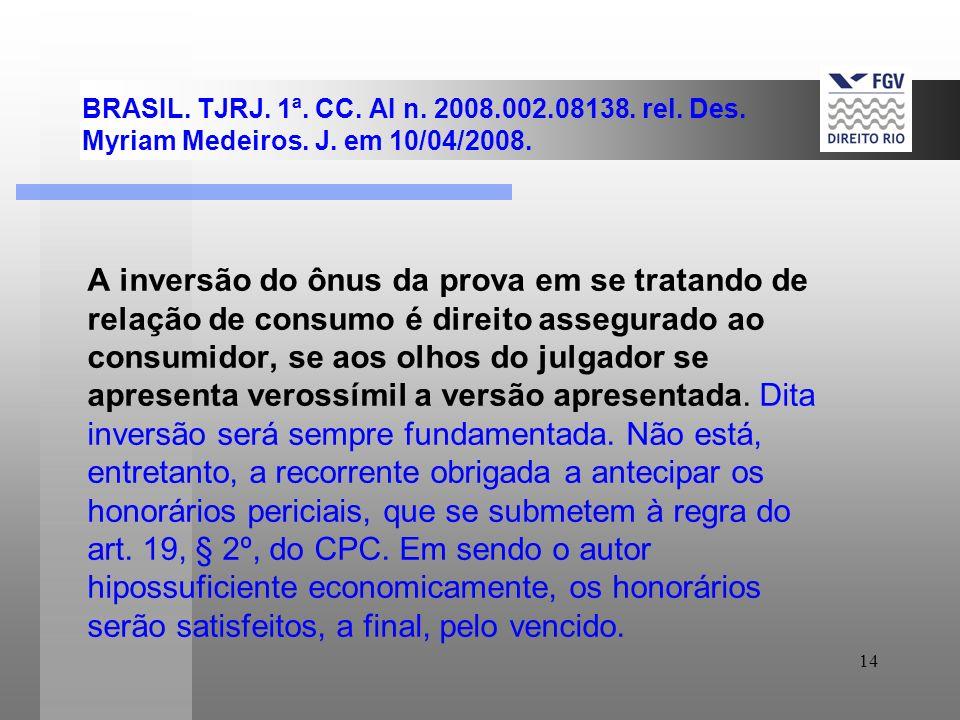 BRASIL. TJRJ. 1ª. CC. AI n. 2008.002.08138. rel. Des. Myriam Medeiros. J. em 10/04/2008.