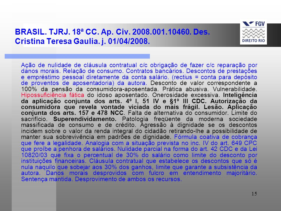 BRASIL. TJRJ. 18ª CC. Ap. Civ. 2008. 001. 10460. Des