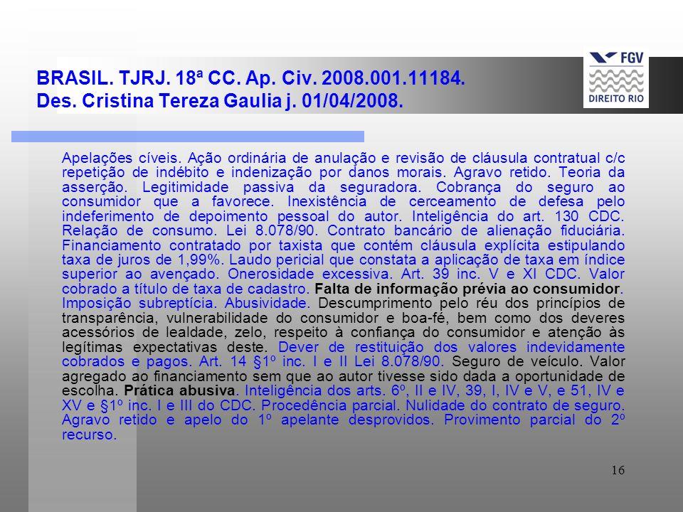 BRASIL. TJRJ. 18ª CC. Ap. Civ. 2008. 001. 11184. Des