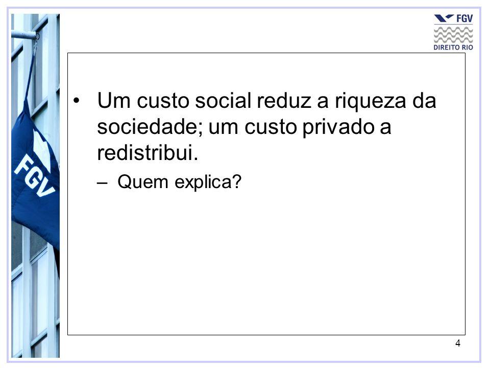 Um custo social reduz a riqueza da sociedade; um custo privado a redistribui.