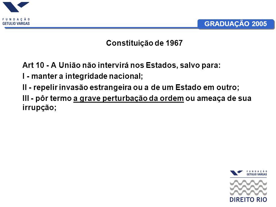 Constituição de 1967Art 10 - A União não intervirá nos Estados, salvo para: I - manter a integridade nacional;