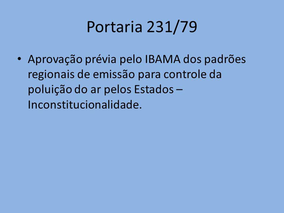 Portaria 231/79 Aprovação prévia pelo IBAMA dos padrões regionais de emissão para controle da poluição do ar pelos Estados – Inconstitucionalidade.
