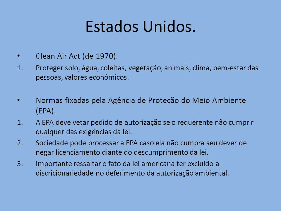 Estados Unidos. Clean Air Act (de 1970).