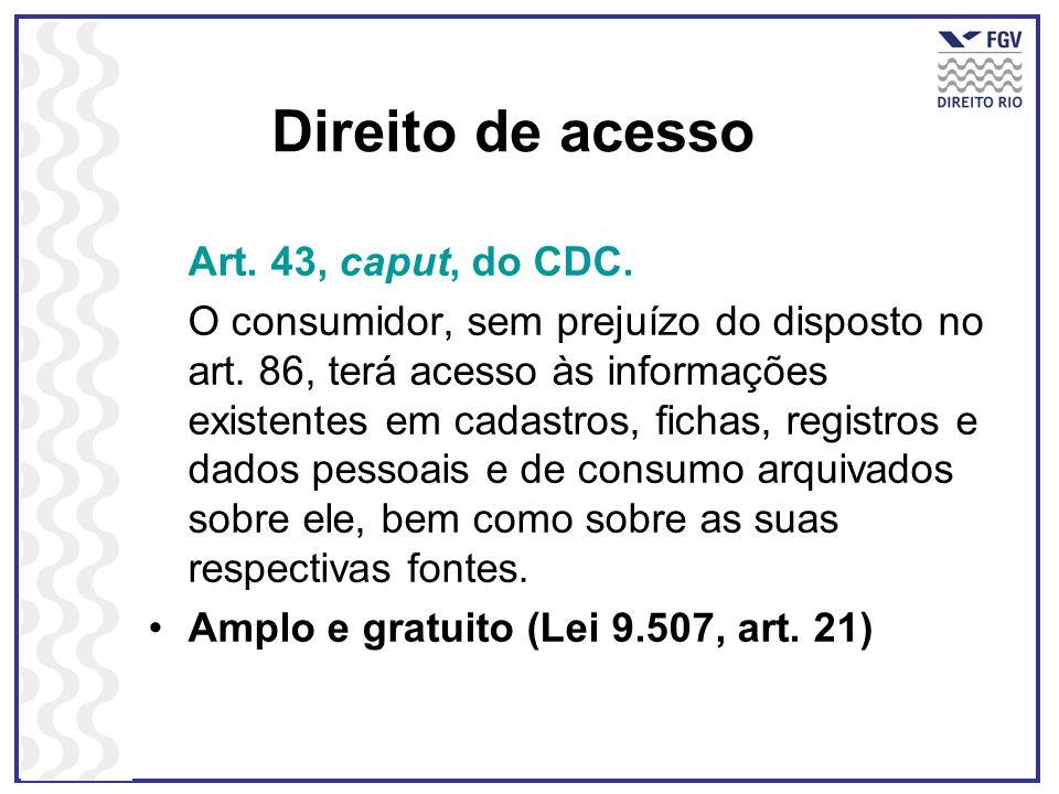 Direito de acesso Art. 43, caput, do CDC.