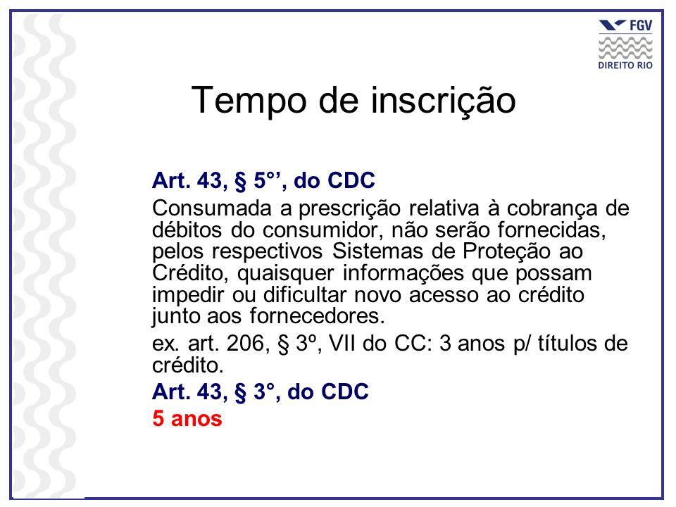 Tempo de inscrição Art. 43, § 5°', do CDC