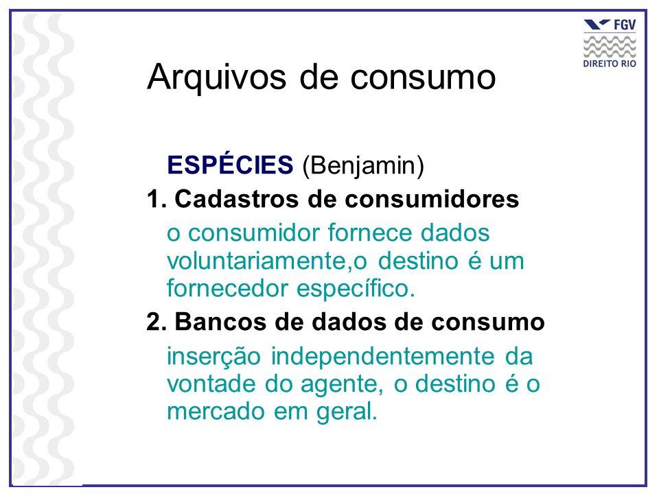 Arquivos de consumo ESPÉCIES (Benjamin) 1. Cadastros de consumidores
