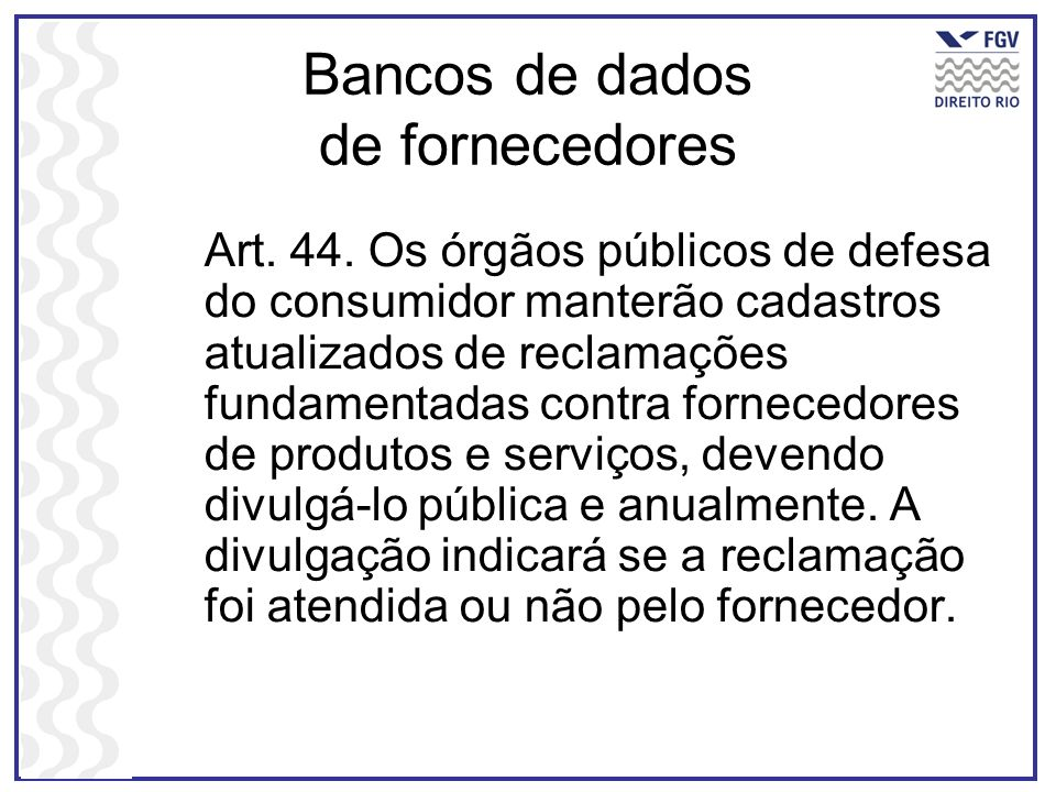 Bancos de dados de fornecedores