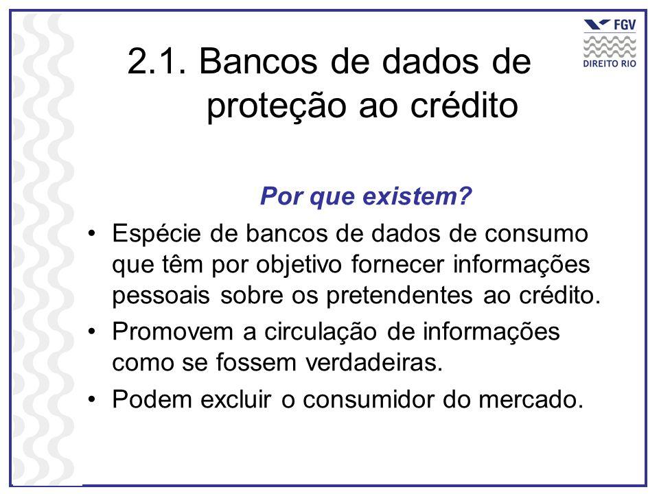 2.1. Bancos de dados de proteção ao crédito