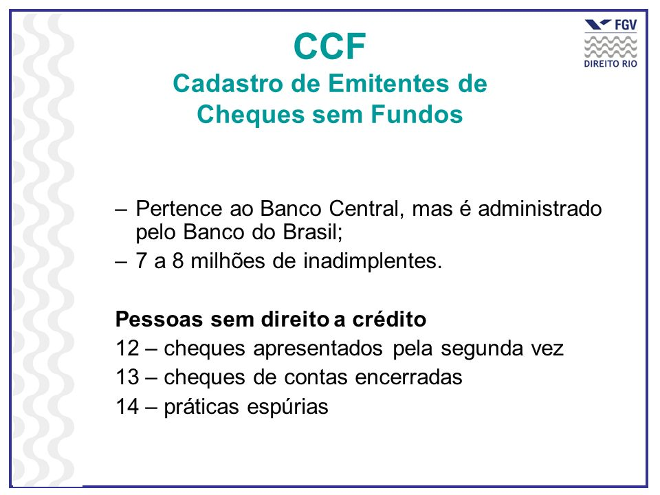 CCF Cadastro de Emitentes de Cheques sem Fundos