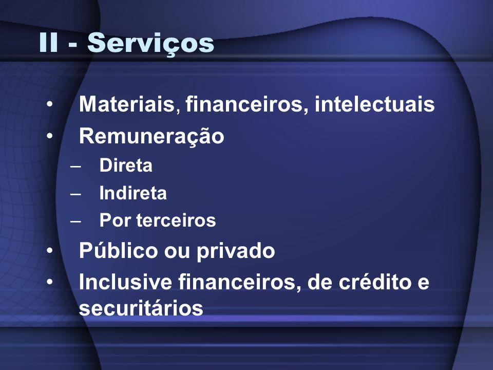 II - Serviços Materiais, financeiros, intelectuais Remuneração