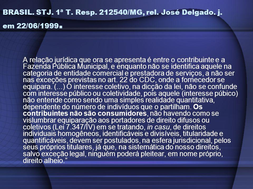 BRASIL. STJ. 1ª T. Resp. 212540/MG, rel. José Delgado. j. em 22/06/1999.