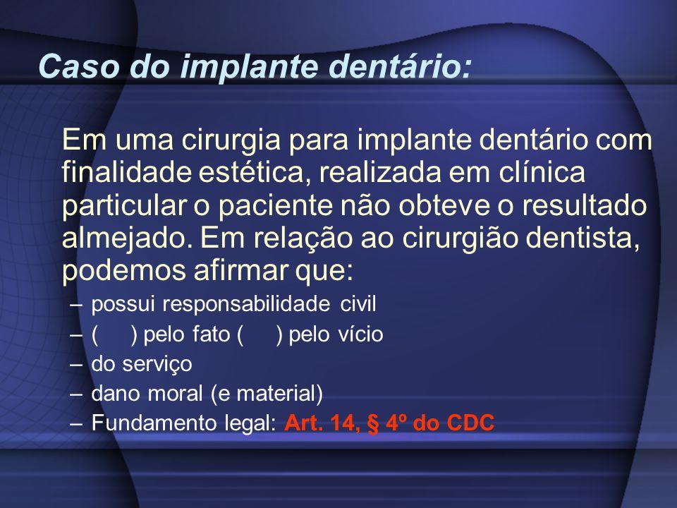 Caso do implante dentário: