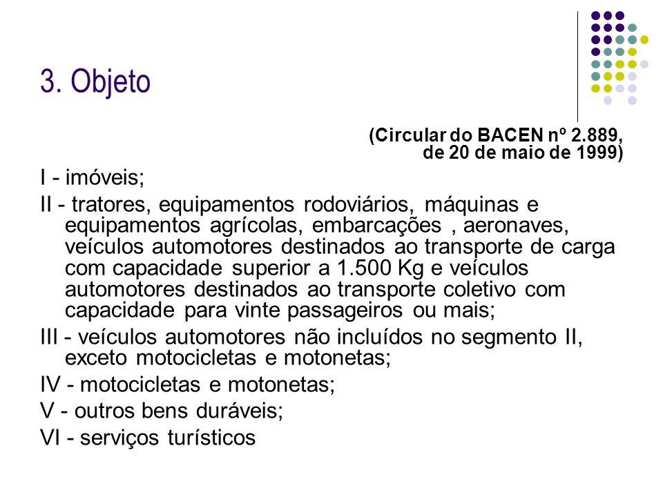3. Objeto(Circular do BACEN nº 2.889, de 20 de maio de 1999) I - imóveis;
