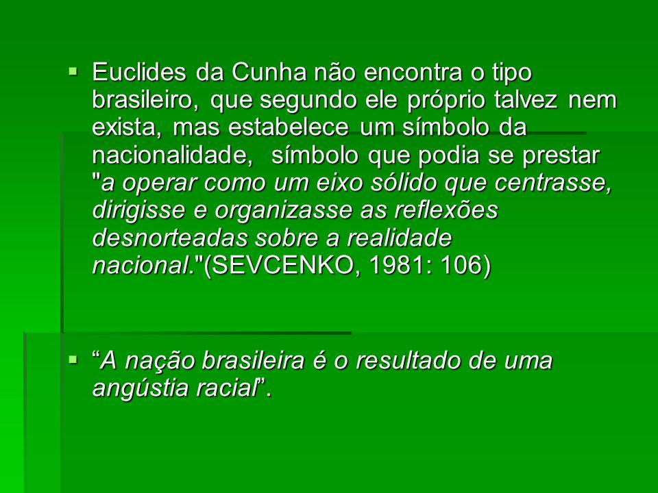 Euclides da Cunha não encontra o tipo brasileiro, que segundo ele próprio talvez nem exista, mas estabelece um símbolo da nacionalidade, símbolo que podia se prestar a operar como um eixo sólido que centrasse, dirigisse e organizasse as reflexões desnorteadas sobre a realidade nacional. (SEVCENKO, 1981: 106)