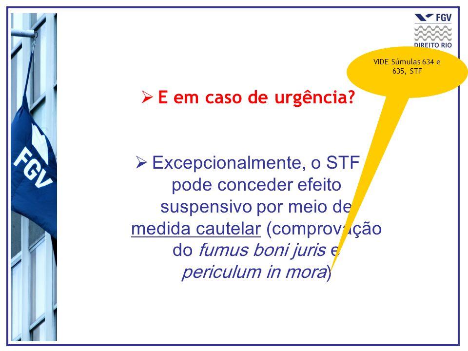 VIDE Súmulas 634 e 635, STF E em caso de urgência