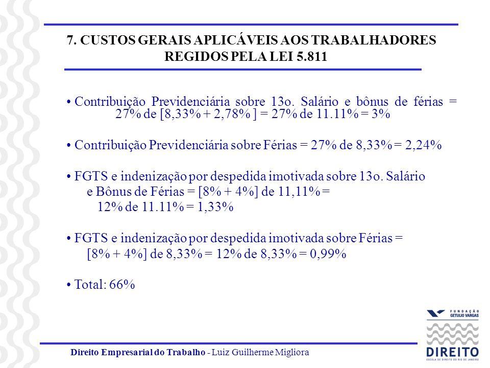 7. CUSTOS GERAIS APLICÁVEIS AOS TRABALHADORES REGIDOS PELA LEI 5.811