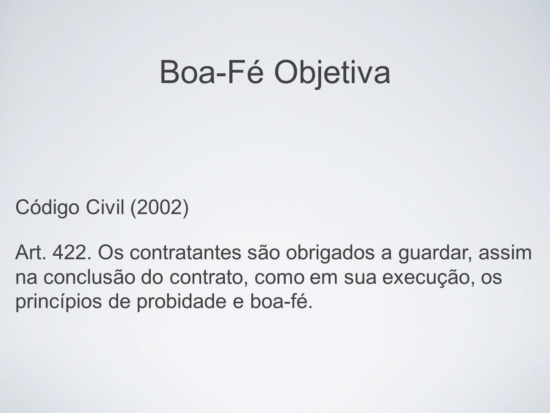 Boa-Fé Objetiva Código Civil (2002)