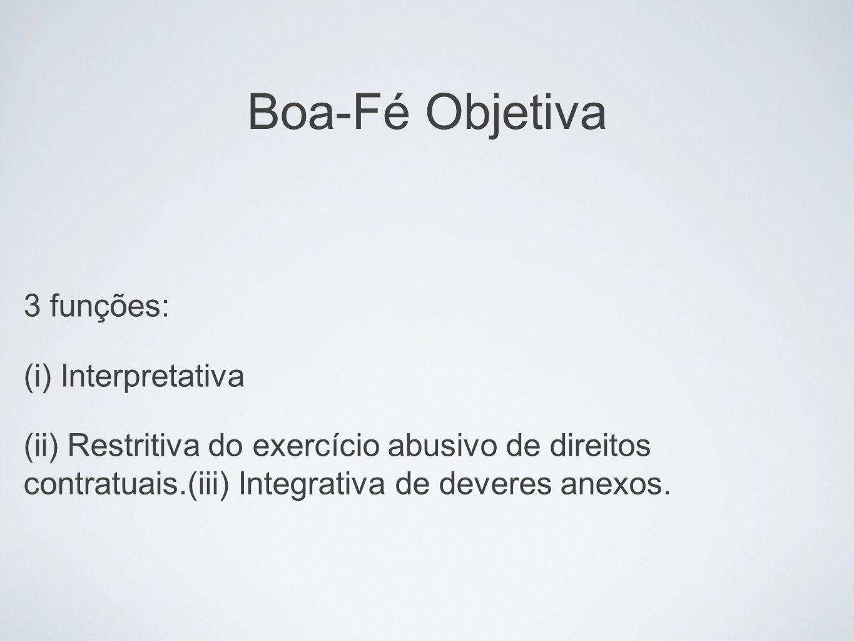 Boa-Fé Objetiva 3 funções: (i) Interpretativa