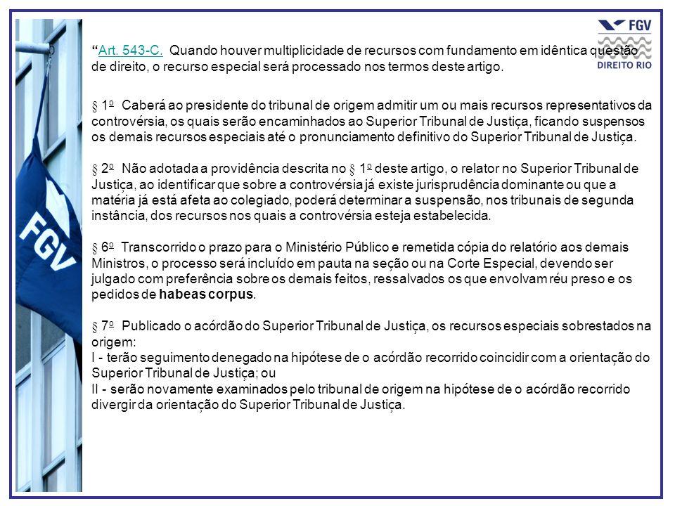 Art. 543-C. Quando houver multiplicidade de recursos com fundamento em idêntica questão de direito, o recurso especial será processado nos termos deste artigo.