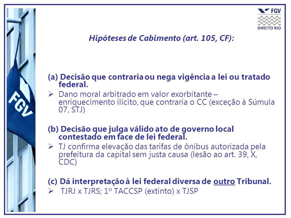Hipóteses de Cabimento (art. 105, CF):