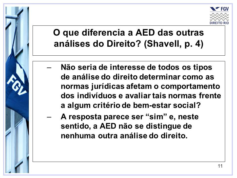 O que diferencia a AED das outras análises do Direito (Shavell, p. 4)