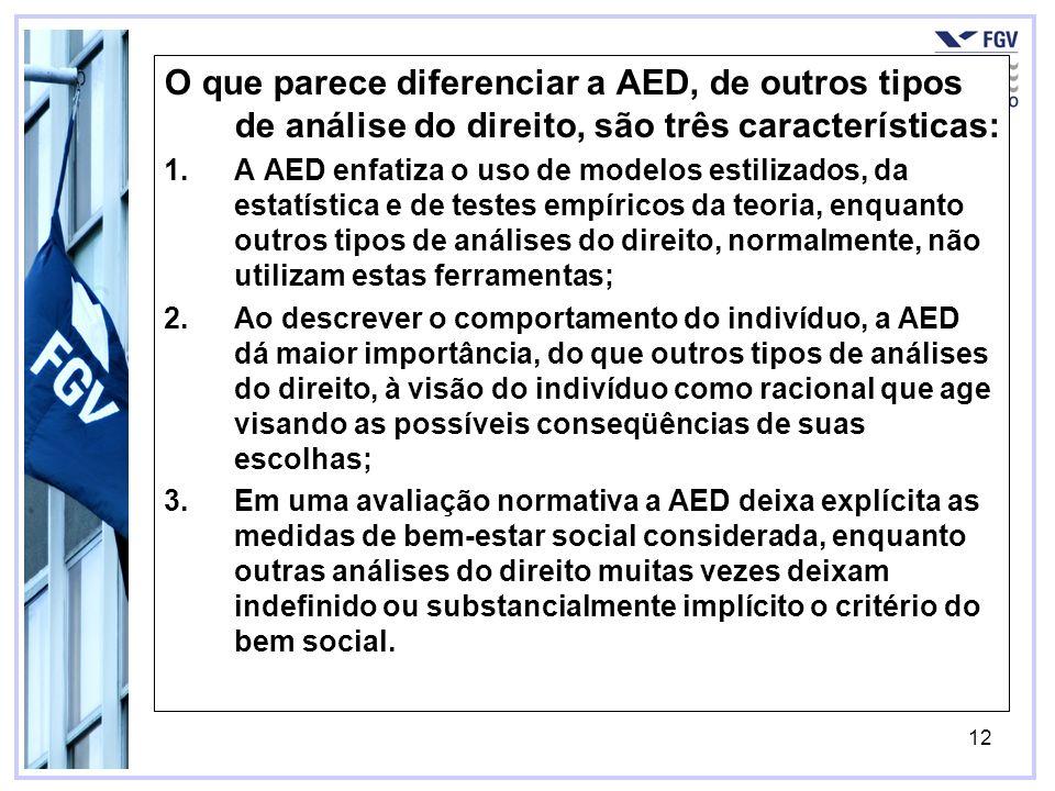 O que parece diferenciar a AED, de outros tipos de análise do direito, são três características: