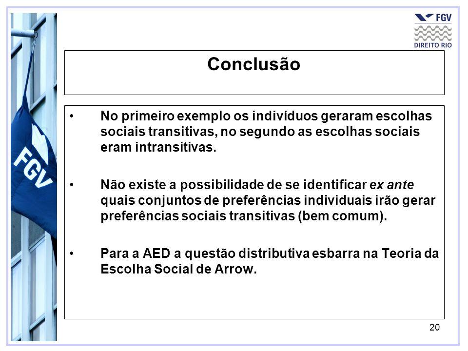 ConclusãoNo primeiro exemplo os indivíduos geraram escolhas sociais transitivas, no segundo as escolhas sociais eram intransitivas.