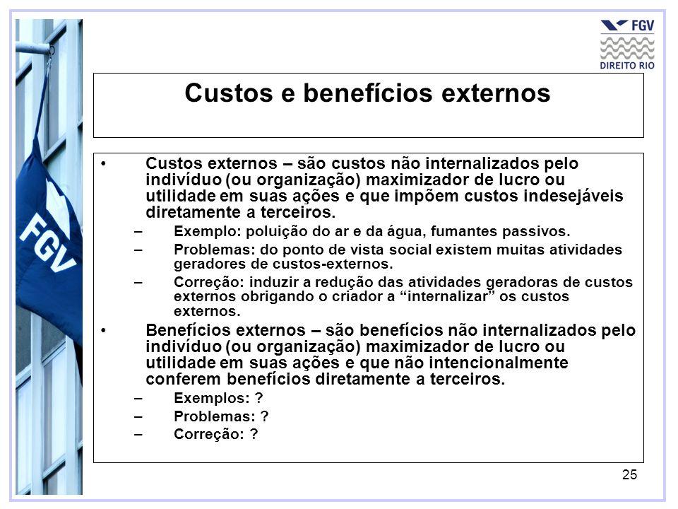 Custos e benefícios externos