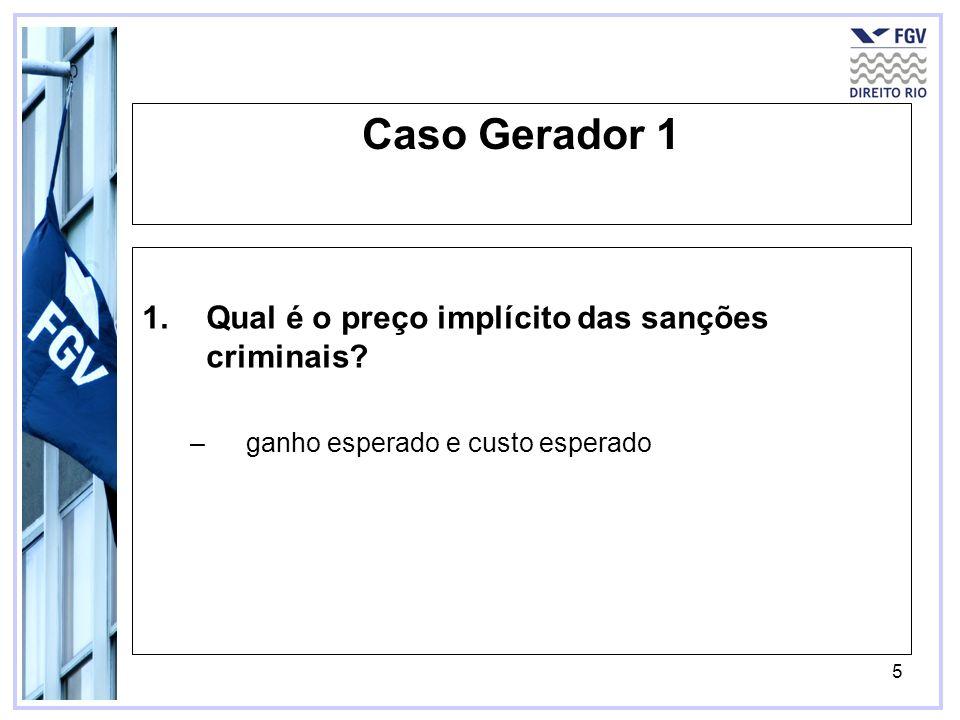 Caso Gerador 1 Qual é o preço implícito das sanções criminais