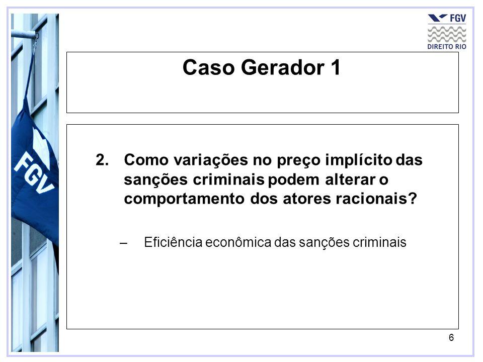 Caso Gerador 1 Como variações no preço implícito das sanções criminais podem alterar o comportamento dos atores racionais