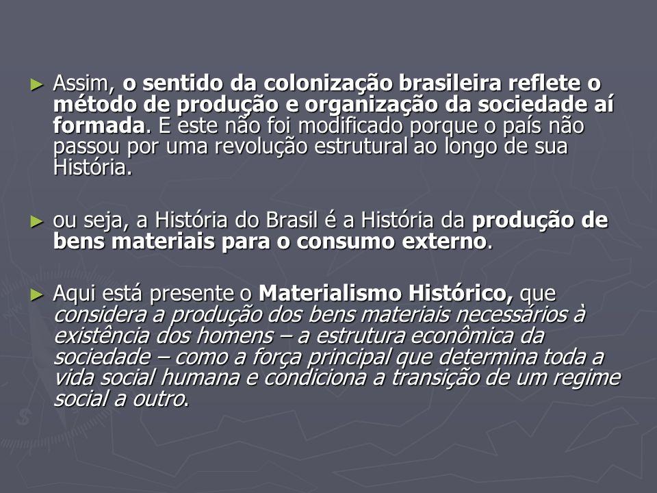 Assim, o sentido da colonização brasileira reflete o método de produção e organização da sociedade aí formada. E este não foi modificado porque o país não passou por uma revolução estrutural ao longo de sua História.