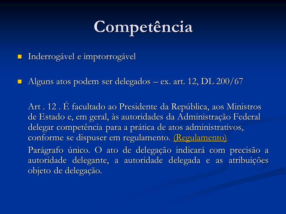 Competência Inderrogável e improrrogável