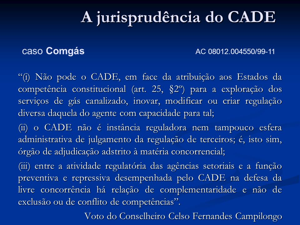 A jurisprudência do CADE