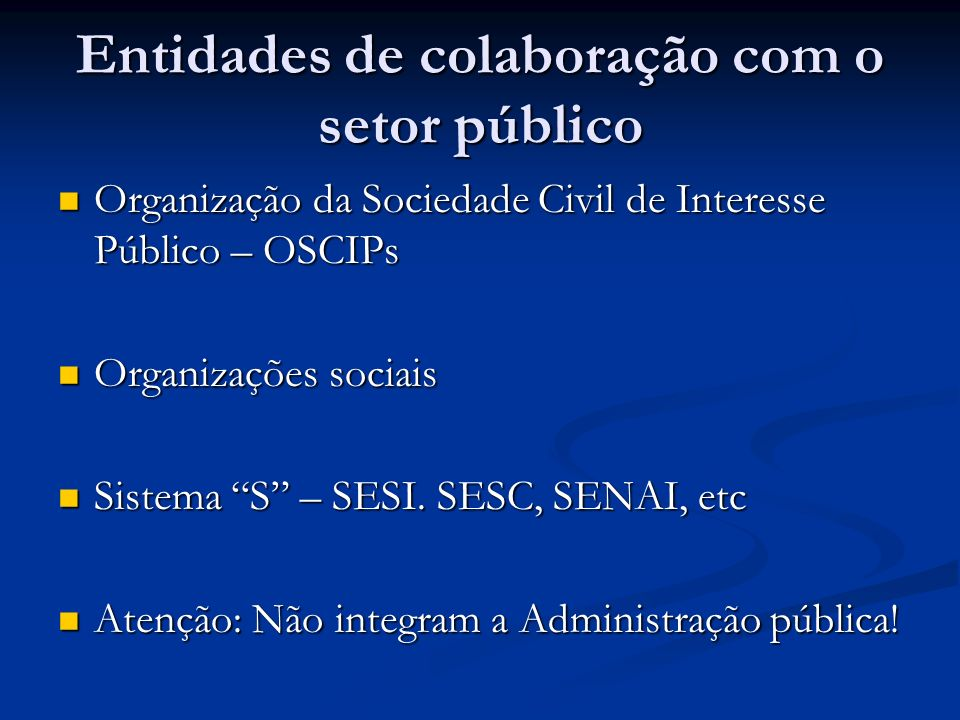 Entidades de colaboração com o setor público