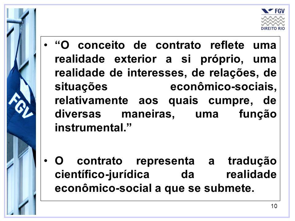O conceito de contrato reflete uma realidade exterior a si próprio, uma realidade de interesses, de relações, de situações econômico-sociais, relativamente aos quais cumpre, de diversas maneiras, uma função instrumental.