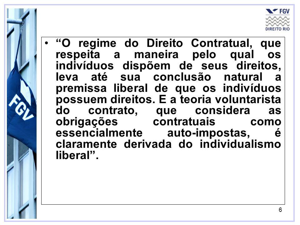 O regime do Direito Contratual, que respeita a maneira pelo qual os indivíduos dispõem de seus direitos, leva até sua conclusão natural a premissa liberal de que os indivíduos possuem direitos.