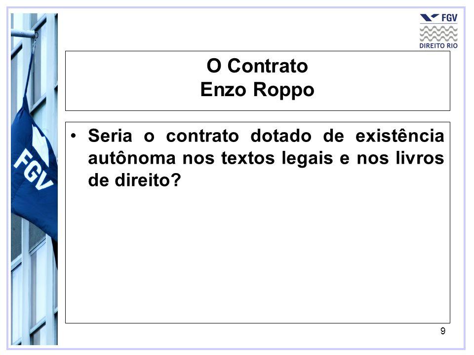 O Contrato Enzo Roppo Seria o contrato dotado de existência autônoma nos textos legais e nos livros de direito